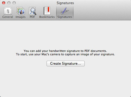 The Signatures pane of Preview Settings gives you instructions on creating a new signature.