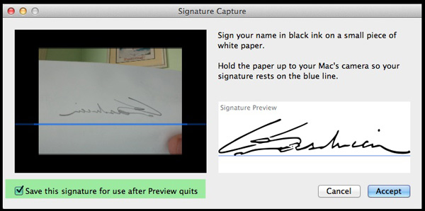 The Signature Capture panel in Preview.