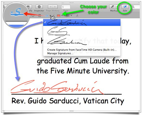 Clicking on the Signatures button located in the Edit Tools bar reveals a list of your stored signatures that you can choose from to have inserted in your PDF document.