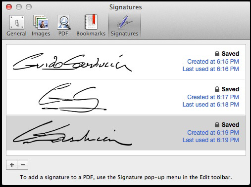 The Signatures pane of Preview Settings now allows you to manage any stored signatures.