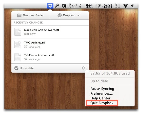 Quit App Dropbox Menu Bar