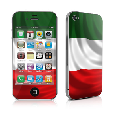 Two iPhones emblazoned with the Italian flag.