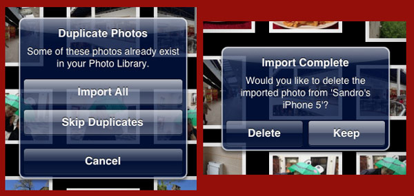 Two pop-up alerts on the iPad mini offering various options when importing images.