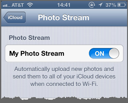 The Photo Stream Settings panel in iOS.