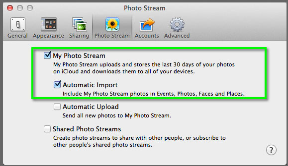 The Photo Stream Preferences pane in iPhoto.