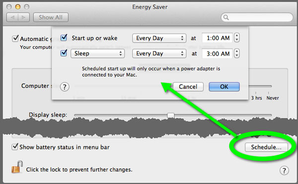 The Energy Saver Preferences pane in OS X, highlighting the Scheduling function.