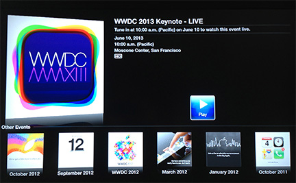 Apple to stream WWDC 2013 keynote presentation through Apple TV