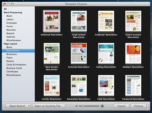 How to customize templates in iwork apps for mac the mac observer the templates chooser in pages stopboris Choice Image