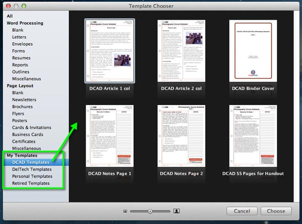 The Templates Chooser in Pages, showing the author's custom templates.