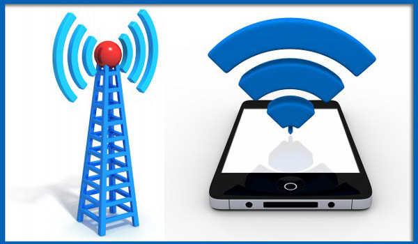 Illustration depicting a cell tower and a WiFi signal on an iPhone.