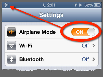 The Airplane Mode switch in the main Settings Panel.