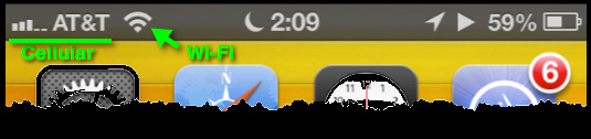 An enlarged view of the iPhone's Status Bar.