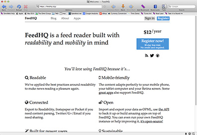 FeedHQ is a Web-based alternative to Google Reader for $12 a year