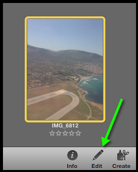 A photo selected in iPhoto. Clicking on the Edit button sends the image to the Edit module.