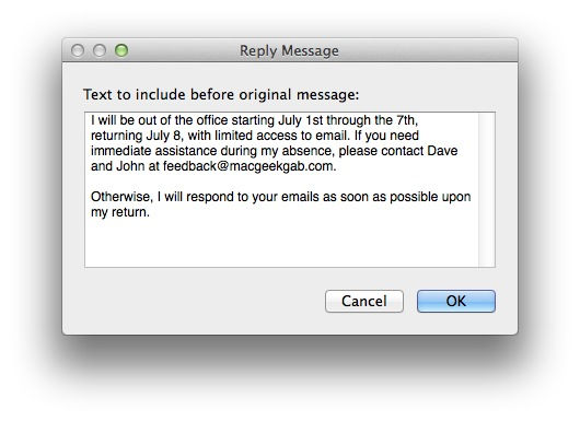 "How to Create ""Out of Office"" Auto Email Replies with OS X Mail ..."