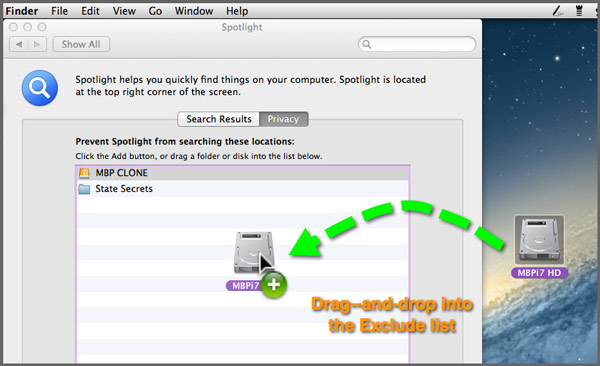 The Mac's hard drive icon being dragged from from the desktop and dropped into the Spotlight Exclude list.
