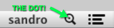 An enlarged menu bar Spotlight icon showing the indexing dot in the center of the magnifying glass.