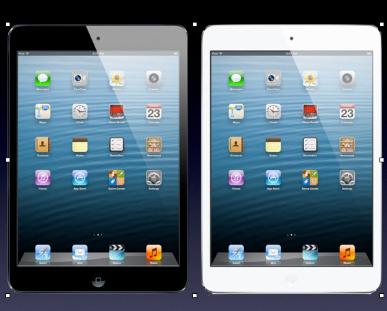 A single image showing a black iPad mini and a white iPad mini side-by-side