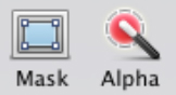 The toolbar icons for the Mask and Instant Alpha tools in the iWork apps.