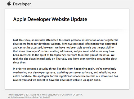 Apple's email warning developers about the security breach