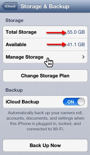 The iCloud Storage & Backup Settings panel.
