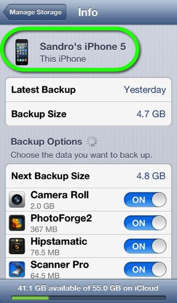 The iCloud Storage Info Settings page for a specific iPhone.