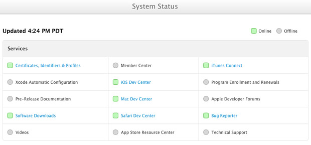 Apple Developer Connection System Status