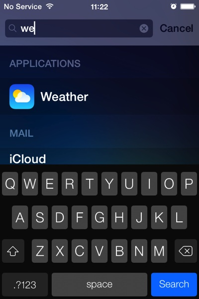 The search screen on a prerelease version of iOS 7 on an iPhone.