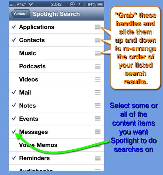 The Spotlight Search Settings page.