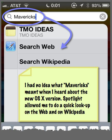 The Spotlight search page shows an option to search on the Web or in Wikipedia.