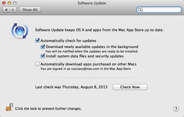 The Software Update Preferences panel.