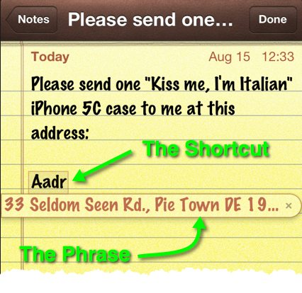 Writing correspondence in the Notes app and using a Keyboard Shortcut.