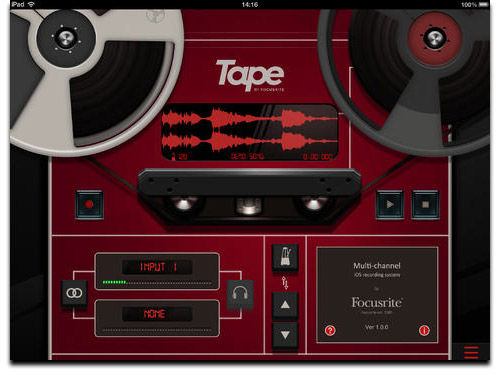 Focusrite Ships Free 'Tape' Recording App for iPad