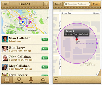 Find My Friends is great for keeping tabs on family members