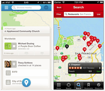 Foursquare (left) and Yelp (right) show your location only when you check in
