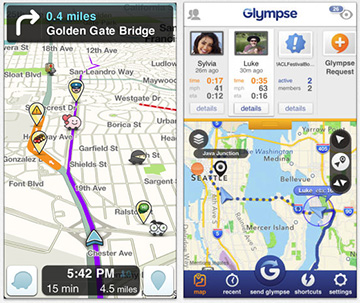 Waze (left) and Glympse (right) let you track and share your location in real time