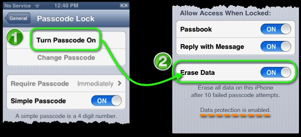 The Passcode Lock preferences panel