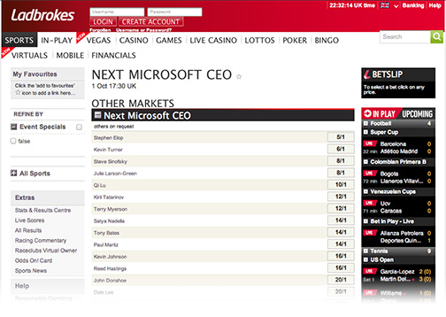 According to the odds, Nokia's Stephen Elop will be Microsoft's next CEO