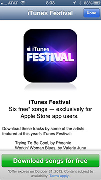 6 Free iTunes Festival Songs Available through Apple App Store App
