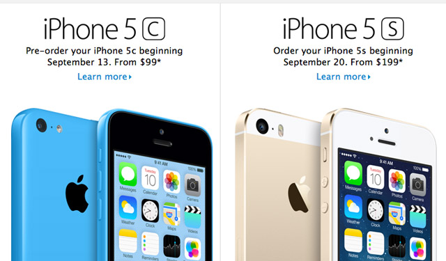 iPhone 5c and 5s Availability