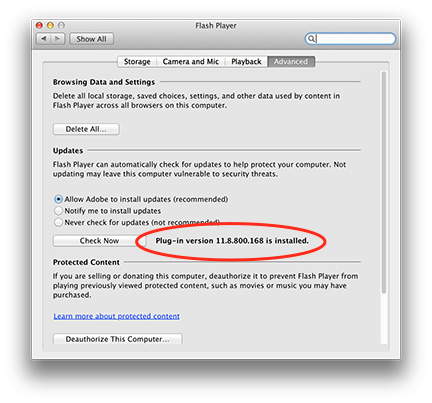 You can check your Flash Player version in System Preferences