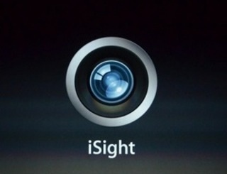 Closeup of the iPhone iSight camera.