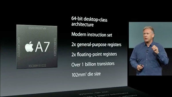 Phil Schiller presenting the new A7 processor.