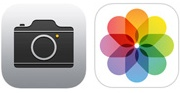 The iOS 7 icons for the Camera app and the Photos app.