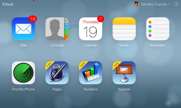The iCloud.com Home Screen after a successful sign-in.