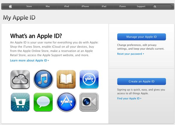 A view of the My Apple ID support page at Apple.com.