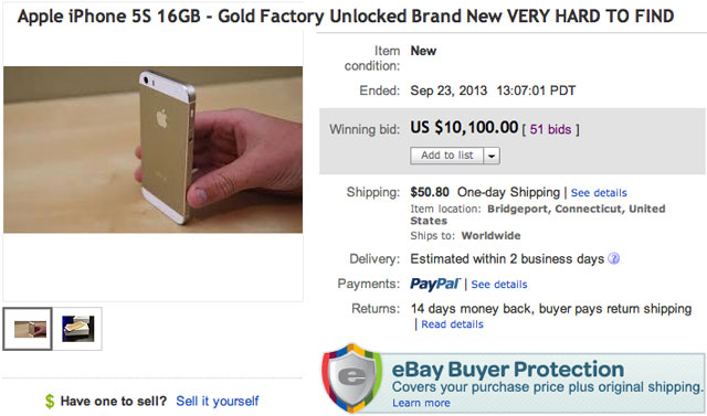 gold iphone 5s 16gb sells for 10 100 on ebay the mac observer. Black Bedroom Furniture Sets. Home Design Ideas