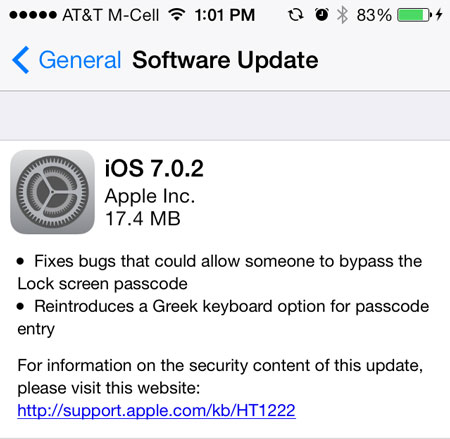 iOS 7.0.2 Update Screen