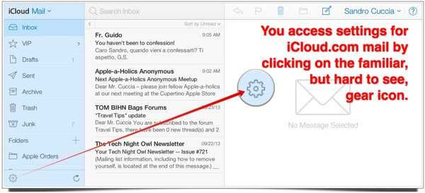 The main window of iCloud.com's Mail web app.