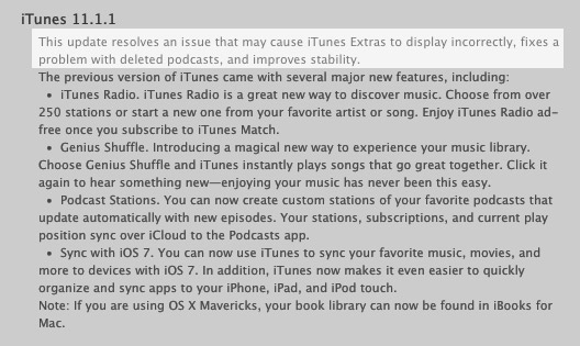 iTunes 11.1.1 Patch Notes